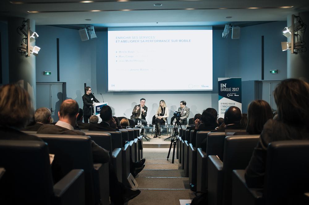 De gauche à droite Jérôme Morlon (Next Content), Jean-Michel Perigois (Jouve), Merete Buljo (Natixis EuroTitres) et Marc Campi (BNP Paribas/Hello Bank) - IN BANQUE 2017 - Crédit photo : Guillermo Gomez