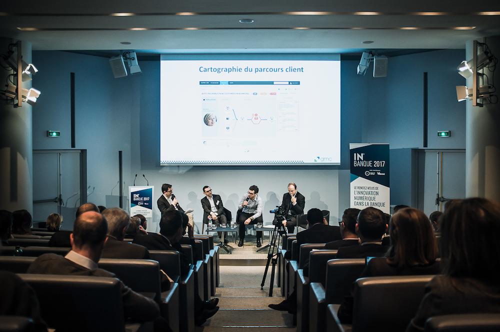 De gauche à droite, Stéphane Loire (Next Content), Pascal Pflieger (Bforbank), Nicolas Serre (ING) et Antoine Hemon-Laurens (GMC Software) - IN BANQUE 2017 - Crédit photo : Guillermo Gomez