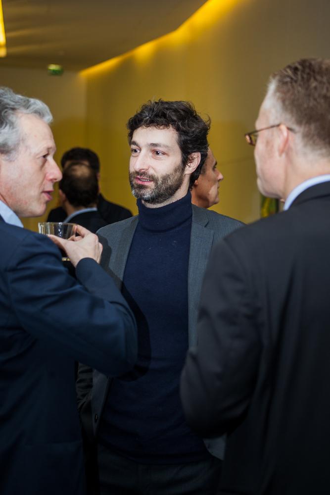 Hugues Le Bret (Compte Nickel, à gauche), Pierre Villeroy de Galhau (Boursorama, au centre) - IN BANQUE 2017 - Crédit photo : Guillermo Gomez