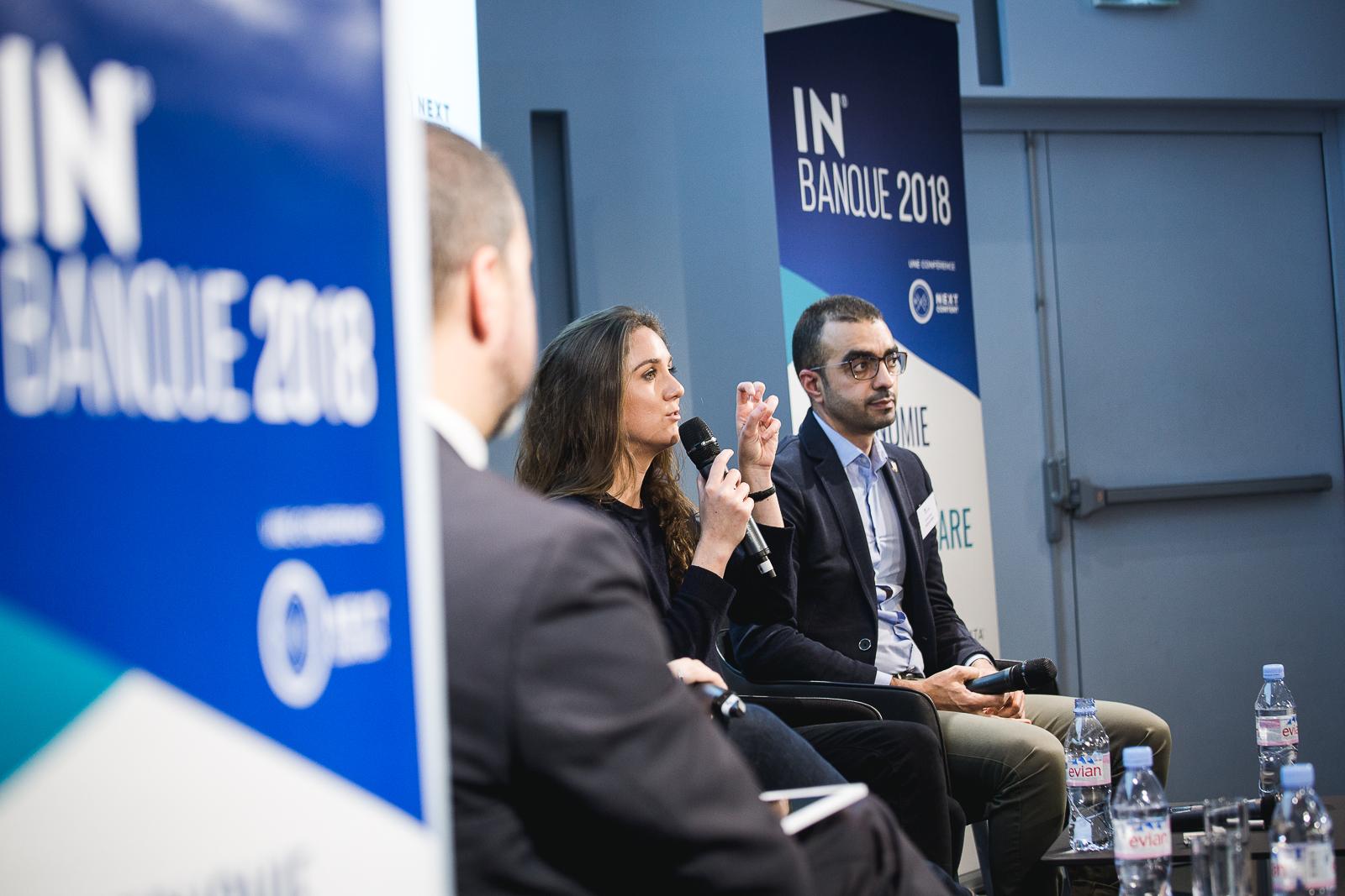 Marjolaine Grondin (Jam, au centre) et Badri Ahmed (Pack'n Drive) - IN BANQUE 2018 - Crédit photo : Guillermo Gomez