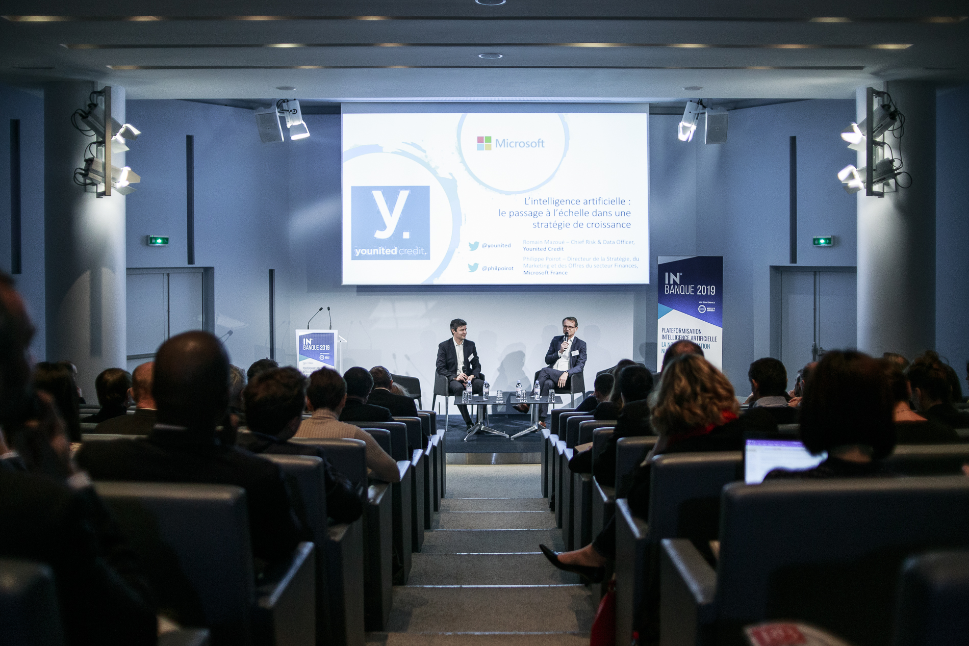 Philippe Poirot (Microsoft) et Romain Mazoué (Younited Credit) - IN BANQUE 2019 - Crédit photo : Guillermo Gomez